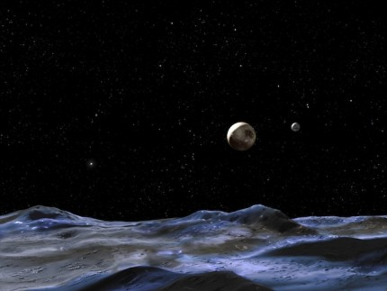 On Pluto looking at its Moons